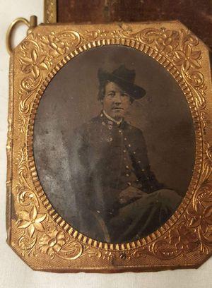 Civil War original tintype with pink gold frame for Sale in Bangor, ME
