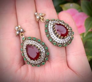 ORIG. VINTAGE RUBY EMERALD EARRINGS Solid 925 Sterling Silver/Gold Bronze WOW! Gems: 2 Brilliant Facet Pear Cut Ruby Rubies, 30 Round Emeralds, Round for Sale in San Diego, CA