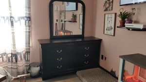 Wood Dresser with Vanity Mirror for Sale in Woodstock, GA