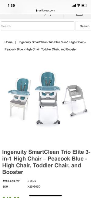 Kid high chair for Sale in Danvers, MA