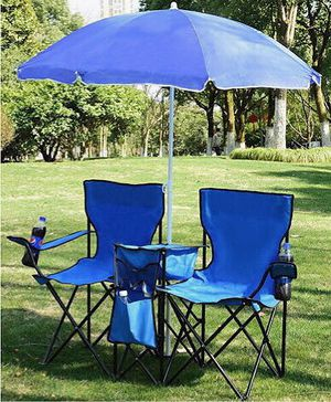 Brand new portable foldable outdoor chairs with removable umbrella 250 lbs capacity for Sale in Whittier, CA