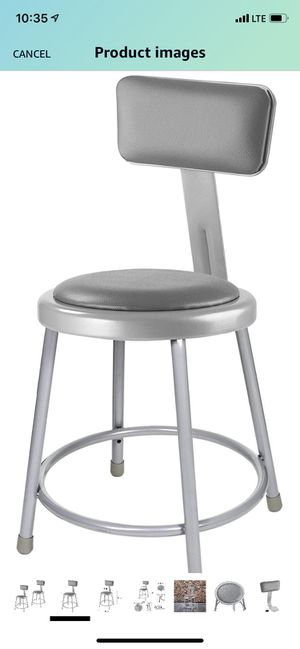 2 Grey Vinyl Padded Stool with Backrest for Sale in Lauderdale Lakes, FL