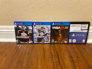 Madden '17 & '18, NBA 2K '16, MLB '16 The Show (all PS4) for Sale in Temecula, CA