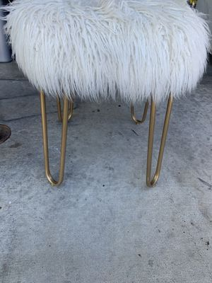 Free- fuzzy stool with gold hair pin legs for Sale in Galt, CA