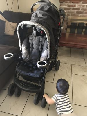 Double stroller with car seat and adapter for car seat for Sale in West Sacramento, CA