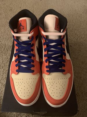 "100% authentic Jordan 1 mid se ""orange black"" for Sale in Charlotte, NC"