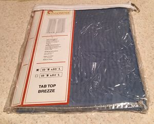 """Used, Blue Curtains NIP Tab Top, 60""""W x 63""""L each panel 8 panels total, all new for sale  package. $5 per panel or all for $30. for Sale"""