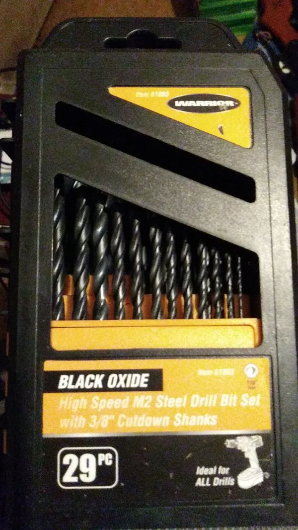 Warrior black oxide 29 piece drill bit high speed 3/8 in cut down Shank