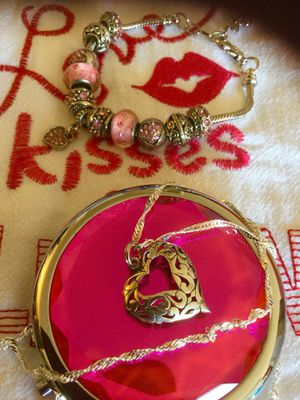 Sterling Silver Heart ❤️ necklace $ 28 / Fashion Bracelet with heart $25 / Red Cowboy boot earrings long 925 silver $15 for Sale in Alexandria, VA