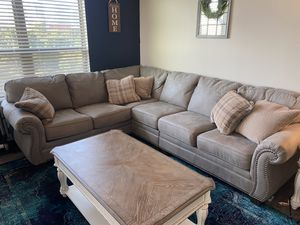 Gray Faux Leather Couch Must GO! for Sale in Fort Worth, TX