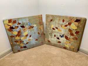 Set of 2 Butterfly Canvas Painting for Sale in Alexandria, VA