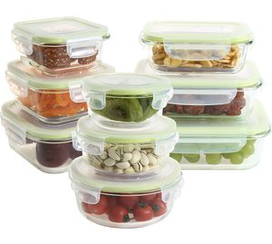 Glass Food Storage Containers with Lids, 18 Pieces Glass Meal Prep Containers, Airtight Glass Bento Boxes for lunches and leftovers, BPA Free & FDA A for Sale in San Gabriel, CA