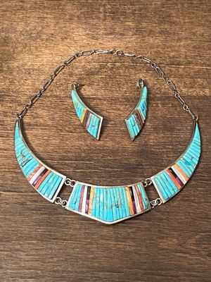 Pete Sierra-Charles Loloma Sterling silver-turquoise set Chestplate and earrings set. for Sale in Hideaway, TX