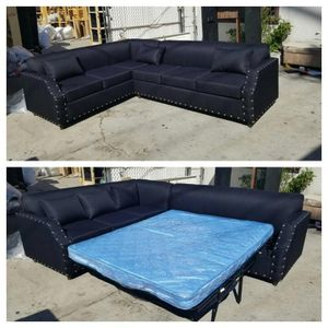 NEW 7X9FT DOMINO BLACK FABRIC SECTIONAL WITH SLEEPER COUCHES for Sale in San Clemente, CA