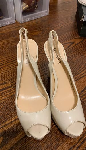Cream sling back guess heels SZ 7.5 for Sale in Webster Groves, MO