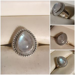 92.5 Sterling Silver Double Rainbow Moonstone Ring for Sale in Pawtucket, RI