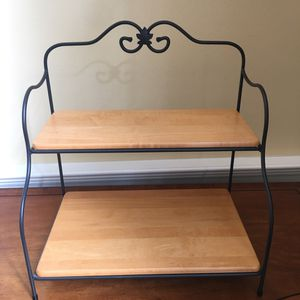 Longaberger wrought iron small bakers rack stand with 2 woodcraft shelves for Sale in Woodinville, WA