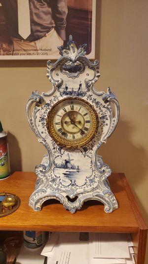 Royal Bonn Delft Porcelain Mantel Clock Antique for Sale in Bethesda, MD