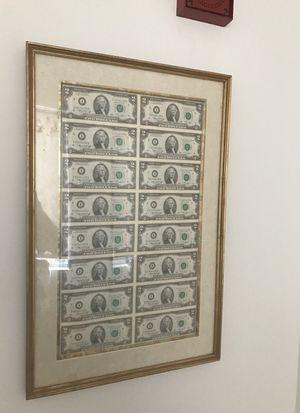 framed rare 2$ bills 2x8 for Sale in Tempe, AZ