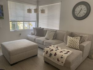 Ashley's Living Room Sectional and ottoman for Sale in Chino Hills, CA