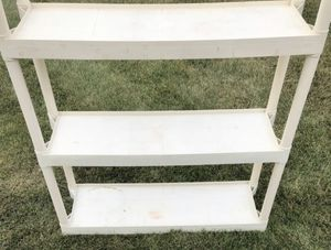3 tier plastic indoor / outdoor easily adjustable shelving unit. Great for any garage, basement, shed or closet! for Sale in HOFFMAN EST, IL