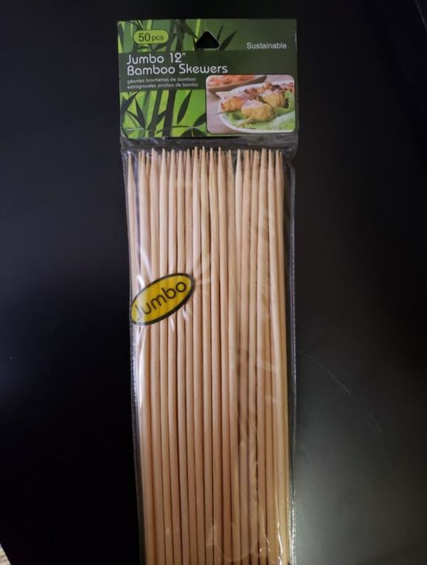 50 Jumbo Bamboo Skewers 12 Inch Wood Wooden Sticks BBQ Shish Party Grill