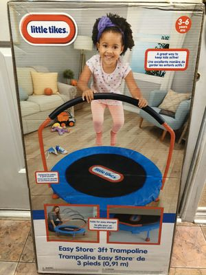 New Little Tikes Easy Store 3 foot Trampoline with Safety Hand Rail for Sale in Lumberton, TX