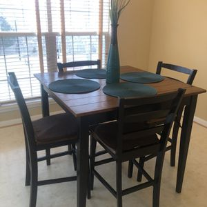 Oak Wood and Black high table with 4 chairs for Sale in Bowie, MD