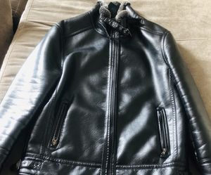 Winter Leather jacket used just for once and it's M size with black color . for Sale in Alexandria, VA
