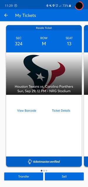 Texans vs Panthers for Sale in Houston, TX