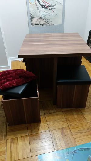 Breakfast table and four ottomans for Sale in Alexandria, VA