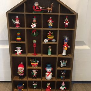 Wooden Christmas House With Whimsical Items In Each Box for Sale in Burtonsville, MD