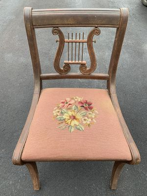 Antique handmade needlepoint chair with harp design back for Sale in Medford, NJ