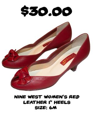 NINE WEST WOMENS RED LEATHER HEELS for Sale in Ringgold, GA