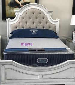 .. Realyn Chipped White Panel Bedroom Set. Dresser Mirror Nightstand Bed Frame Queen (( Full Twin King Size Available))) for Sale in Spring,  TX
