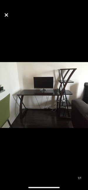 Desk with wood frame and glass shelves for Sale in Miami, FL