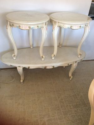 Antique Coffee table + 2 Ends tables with REAL MARBLE TOP .❤️ for Sale in Adelphi, MD