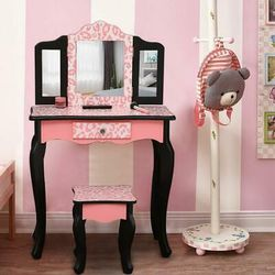 Kids Girls Vanity Table Makeup Set for W/ Drawers Dressing Desk w/ Mirror Stool for Sale in Los Angeles,  CA