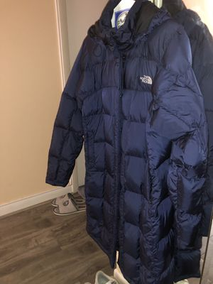 North face parka blue metallic size L for Sale in Warrenville, IL
