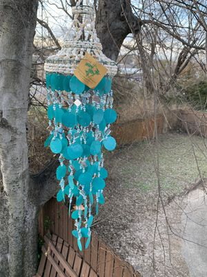 Teal Capiz Shells Diamond Shaped Lozenge Mirrors & Beads Wind Chime Sun Catcher Mobile for Sale in Nashville, TN