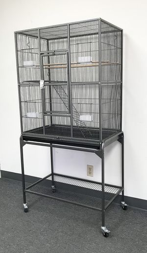 "New in box $90 Large Bird Cage Parrot Ferret Cockatiel House Gym Perch Stand w/ Wheels 32""x18""x63"" for Sale in Industry, CA"