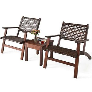 NEW 3Pcs Rattan Wood Frame Furniture Set Home Outdoor Decor for Sale in San Diego, CA