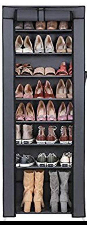 shoe rack of ten levels for the closet with lid. Organizer to store shoes (size22.8 in x 11 in x 63 in.) Gray for Sale in Ontario, CA