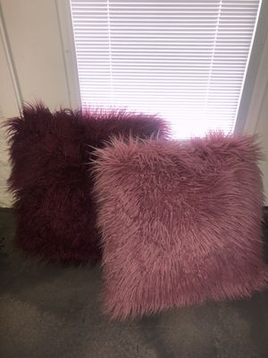 Dark pink and light pink furry pillows for Sale in Payson, AZ