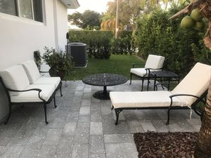 Iron outdoor 5 piece patio furniture with cushions for Sale in North Miami, FL
