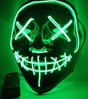 New halloween costume mask cosplay rave party LED glow scary mask costume party red green or blue purge movie dance club for Sale in Whittier, CA