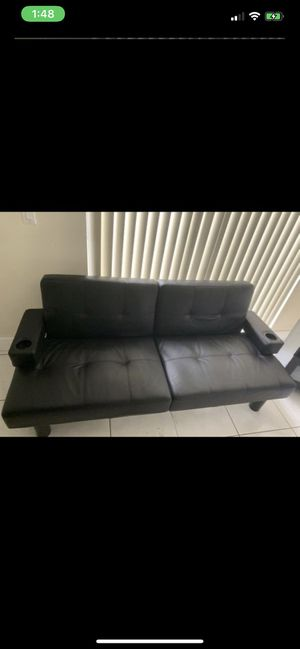 Black Leather Futon for Sale in Miami, FL