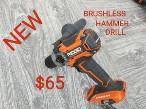 new ridgid 18v brushless hammer drill only $65 for Sale in Littlerock, CA