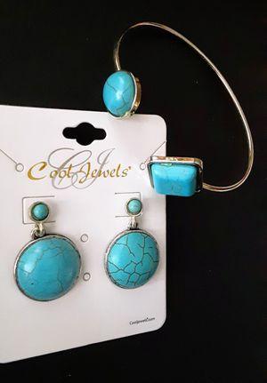 New silvertone faux turquoise cuff bracelet & post earrings set for Sale in Fullerton, CA