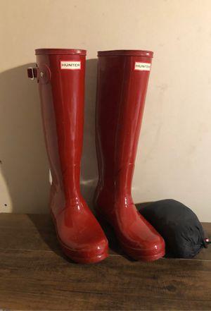 Tall red HUNTER rain boots women's size 8 for Sale in Chesapeake, VA